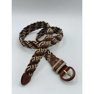 TALBOTS Brown Leather Woven Braided Golf Belt